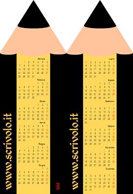 Segnalibro con calendario del 2013